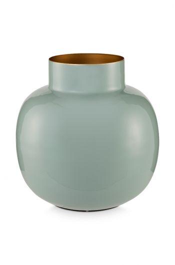 Blushing Birds Round Metal Vase light blue 25 cm