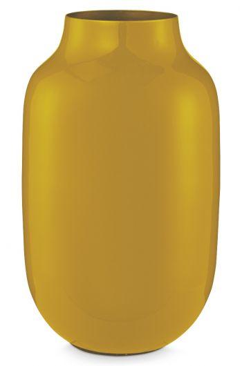 Blushing Birds Oval Metal Vase yellow 30 cm