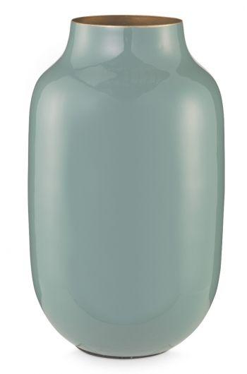 Blushing Birds Oval Metal Vase blue 30 cm