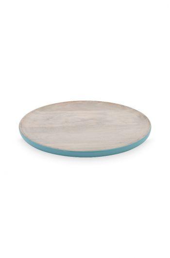 Blushing Birds Wooden Plate blue 17 cm