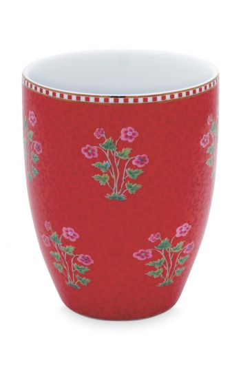 Drinking Cup Floral Good Morning Red