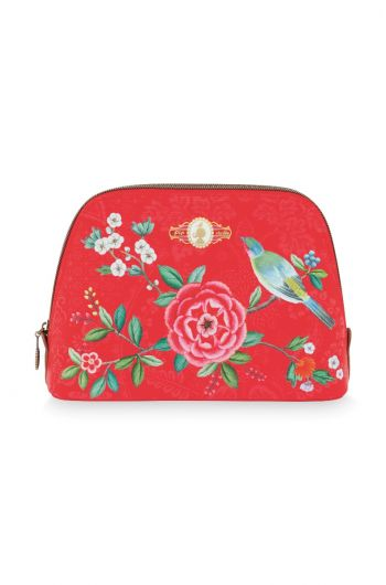 Cosmetic Bag Triangle Medium Floral Good Morning Red