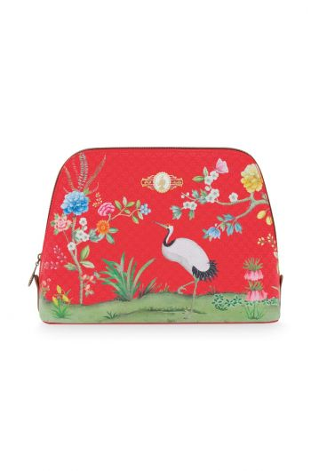 Cosmetic Bag Triangle Large Floral Good Morning Red