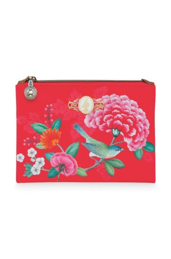 Cosmetic Flat Pouch Small Floral Good Morning Red