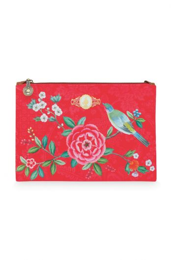 Cosmetic Flat Pouch Medium Floral Good Morning Red