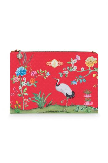 Cosmetic Flat Pouch Large Floral Good Morning Red