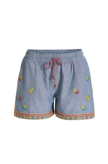 Trousers Short Embroidery Halina Blue