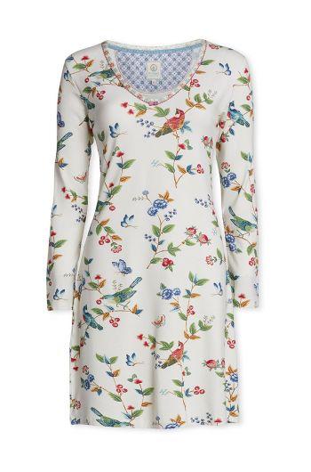Nachthemd met lange mouwen Birdy off white