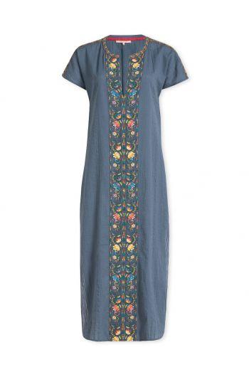 Jurk Embroidery Fez Flowers blauw