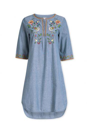 Jurk met 3/4 mouwen Embroidery Summer Flowers blauw