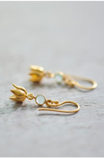Earrings goldplated Lilly Chalcedony