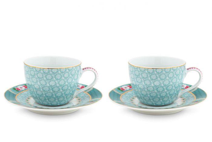 Coffret 2 Paire tasse café Blushing Birds Bleu