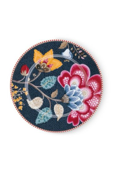 Floral Fantasy Cake Plate Denim Blue 17cm