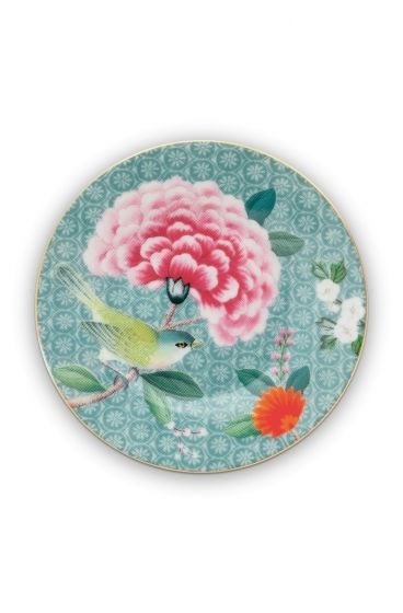 Blushing Birds Petit Four Plate blue 12 cm
