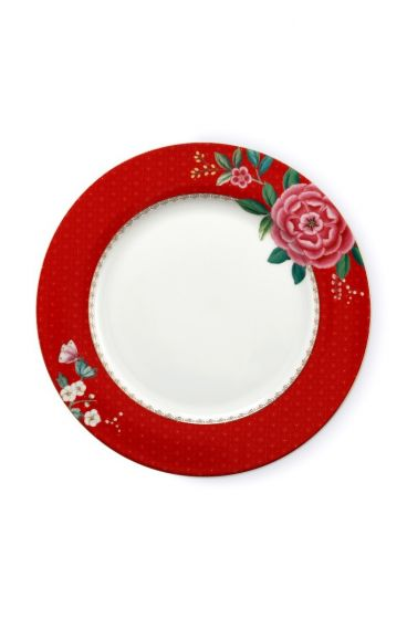 Assiette Plate Blushing Birds Rouge - 26.5 cm
