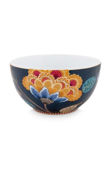 Floral Fantasy Bowl Denim Blue 15cm