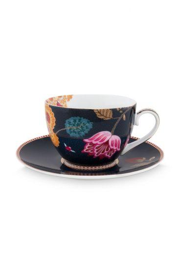 Floral Fantasy cappuccino kop en schotel denim blauw