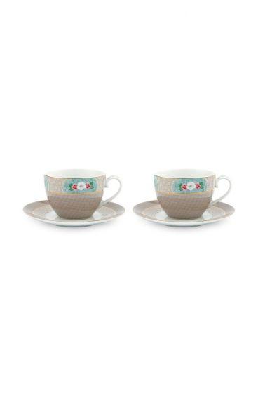 Blushing Birds Set/2 Cappuccino Tassen & Untertassen Khaki