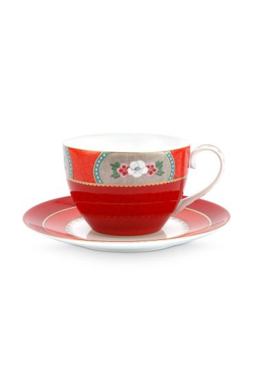 Blushing Birds Cappuccino Cup & Saucer Red