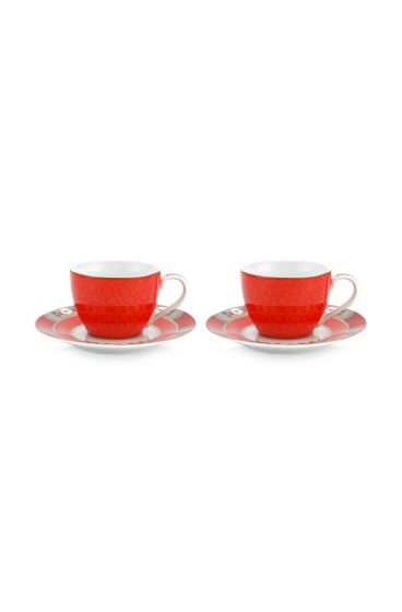 Coffret 2 Paire Tasse Café Blushing Birds Rouge