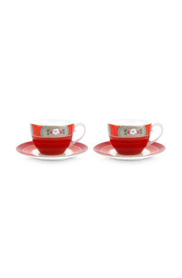 Blushing Birds Set of 2 Cappuccino Cups & Saucers Red