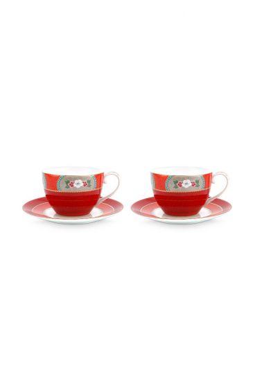 Blushing Birds Set/2 Cappuccino Tassen & Untertassen Rot