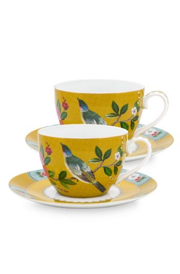 Blushing Birds Set of 2 Cups & Saucers Yellow