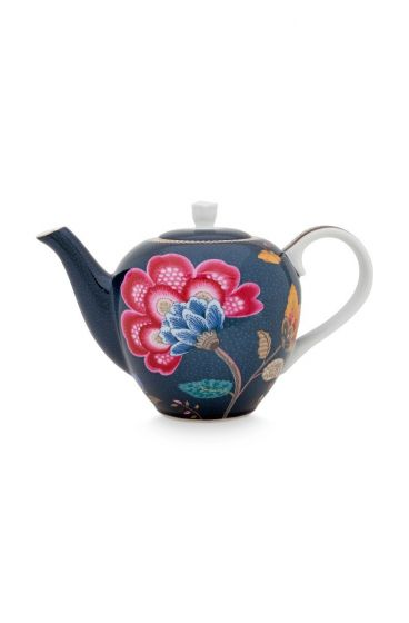 Floral Fantasy Teapot Denim Blue Small