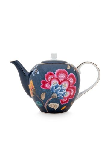 Floral Fantasy Teapot Denim Blue Large
