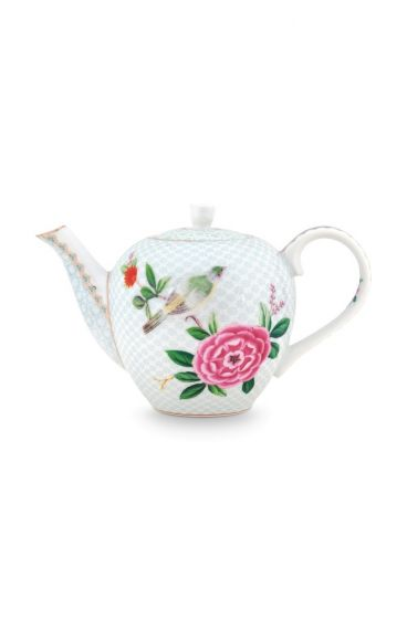 Blushing Birds Teapot small white
