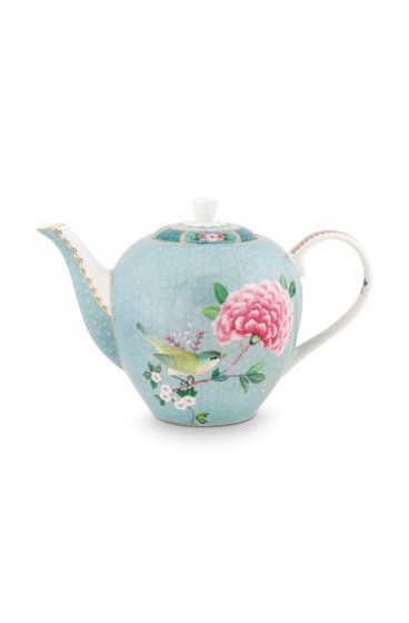 Blushing Birds Teapot large blue