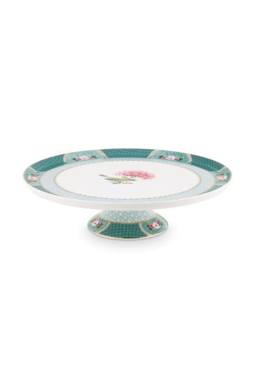 Blushing Birds Round Cake Platter blue