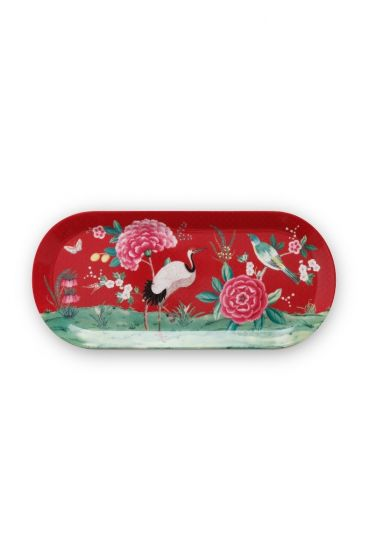 Blushing Birds Rectangular Cake Platter Red 34 cm