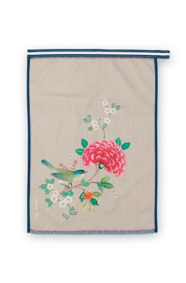 Blushing Birds Tea Towel Khaki