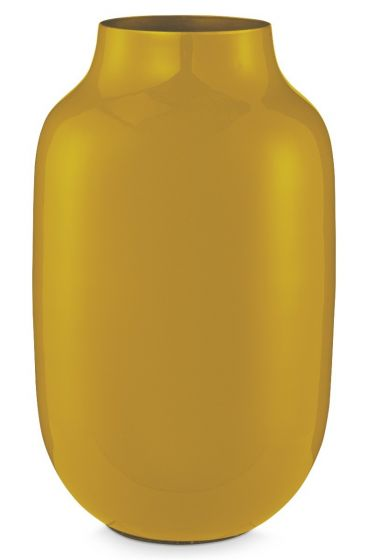 Oval Metal Vase yellow 30 cm