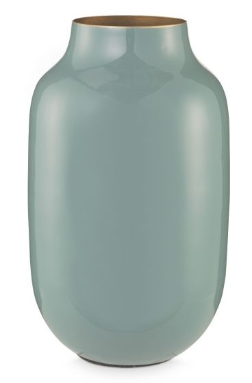 Oval Metal Vase blue 30 cm