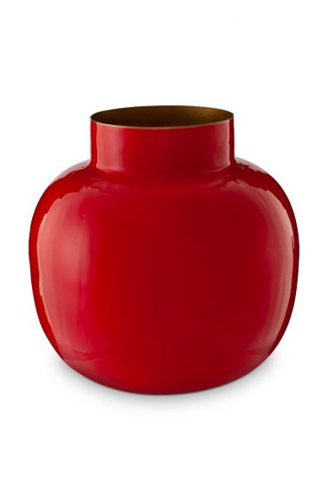 Blushing Birds Round Metal Vase Red 25 cm