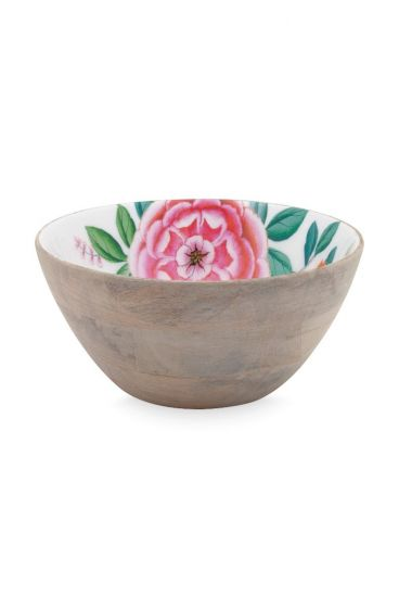 Blushing Birds Wooden Bowl white 24 cm