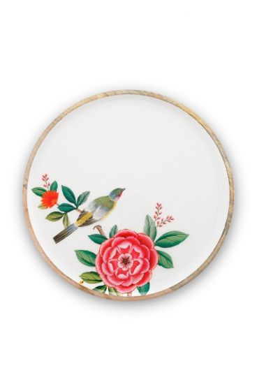 Blushing Birds Wooden Enamelled Plate White 32 cm
