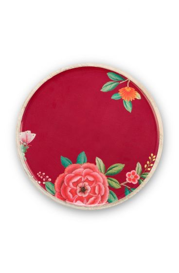 Blushing Birds Wooden Enamelled Plate Red 32 cm