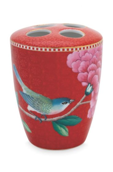 Toothbrush Holder Floral Good Morning Red