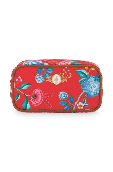 Cosmetic Trousse rectangulaire Floral Rouge