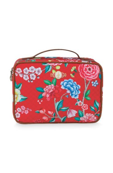 Beautycase groot Floral good morning rood