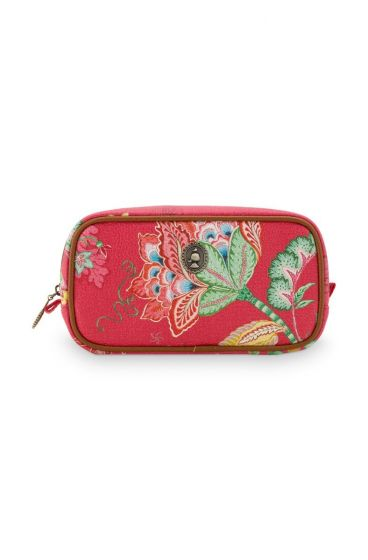 Cosmetic Bag Square Small Jambo Flowers Red