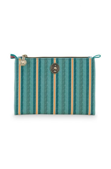 Cosmetic Flat Pouch Small Jambo Flower Blurred Lines Green