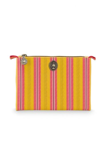 Cosmetic Flat Pouch Small Jambo Flower Blurred Lines Yellow