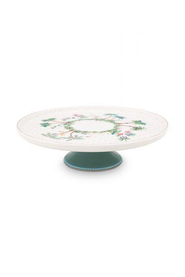porselein-mini-cake-tray-jolie-dots-gold-21-cm-1/8-wit-groen-flowers-pip-studio-51.018.108