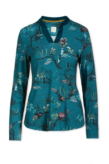 Top Long Sleeve Woodland Nights Blue