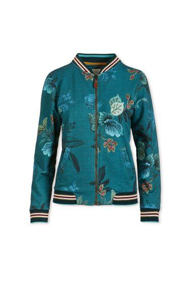 Cardigan Leafy Stitch Blau