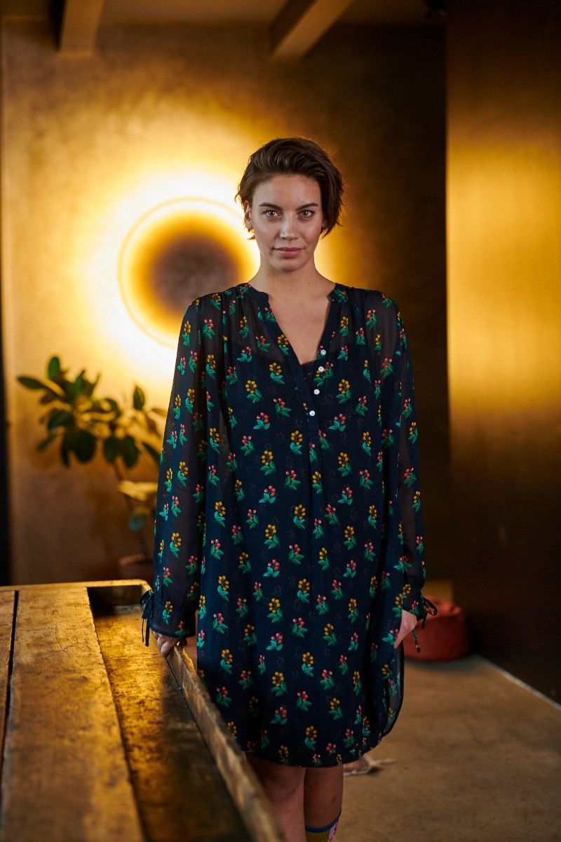PiP Studio Dana Nightdress Long Sleeve Berry Delight Blue XS